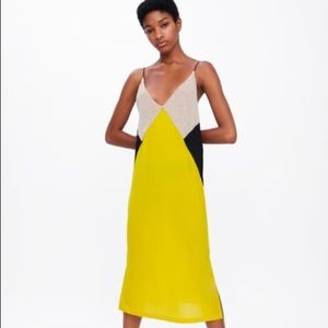 Zara Color Block Dress in Yellow